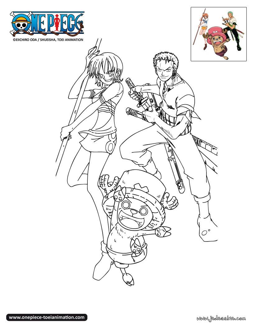 Coloriages Zoro Nami Et Chopper À Colorier - Fr.hellokids à Coloriage One Piece A Imprimer