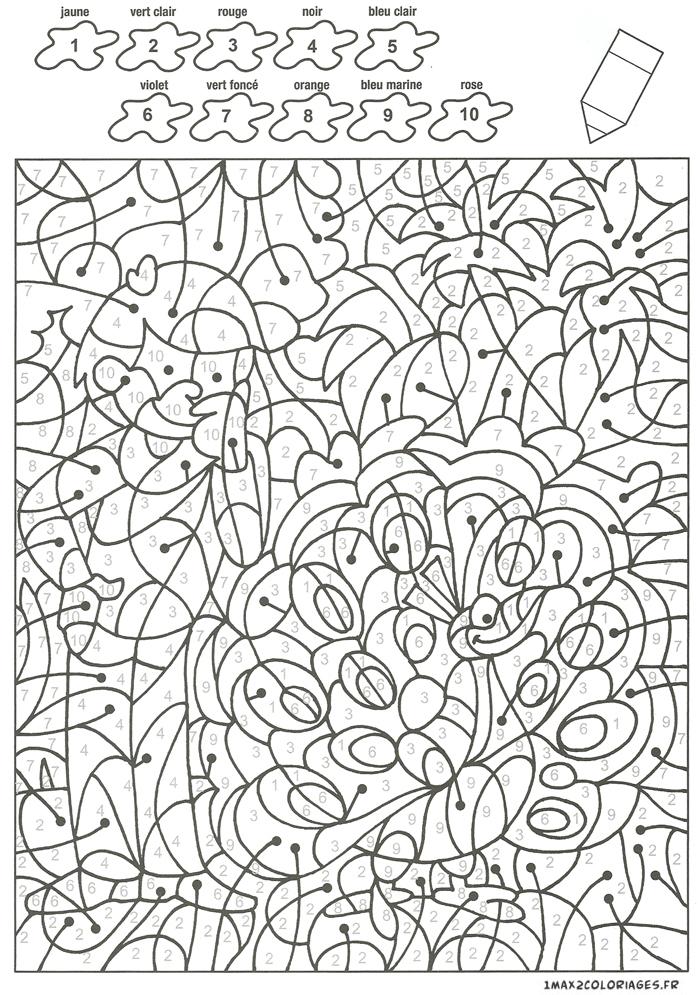 Colorier Avec Les Nombres Avec 10 Couleurs, Jean Regarde Le Joli Paon A Imprimer concernant Coloriage Adulte À Imprimer Avec Code Couleur