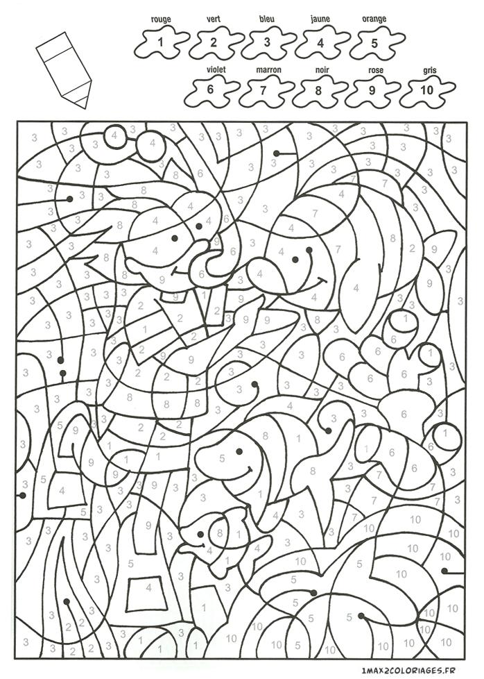 Colorier Avec Les Nombres Avec 10 Couleurs, Un Plongeur Et Des Poissons A Imprimer tout Coloriage Adulte À Imprimer Avec Code Couleur
