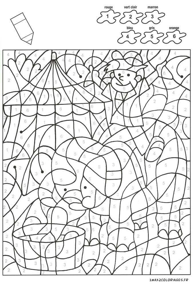 Colorier Avec Les Nombres Avec 6 Couleurs, Un Enfant Sur à Coloriage À Imprimer Avec Code Couleur