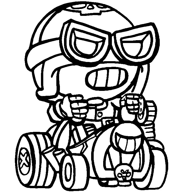 Coloring Page Brawl Stars Skins : Road Rage Carl 13 avec Coloriage Brawl Stars