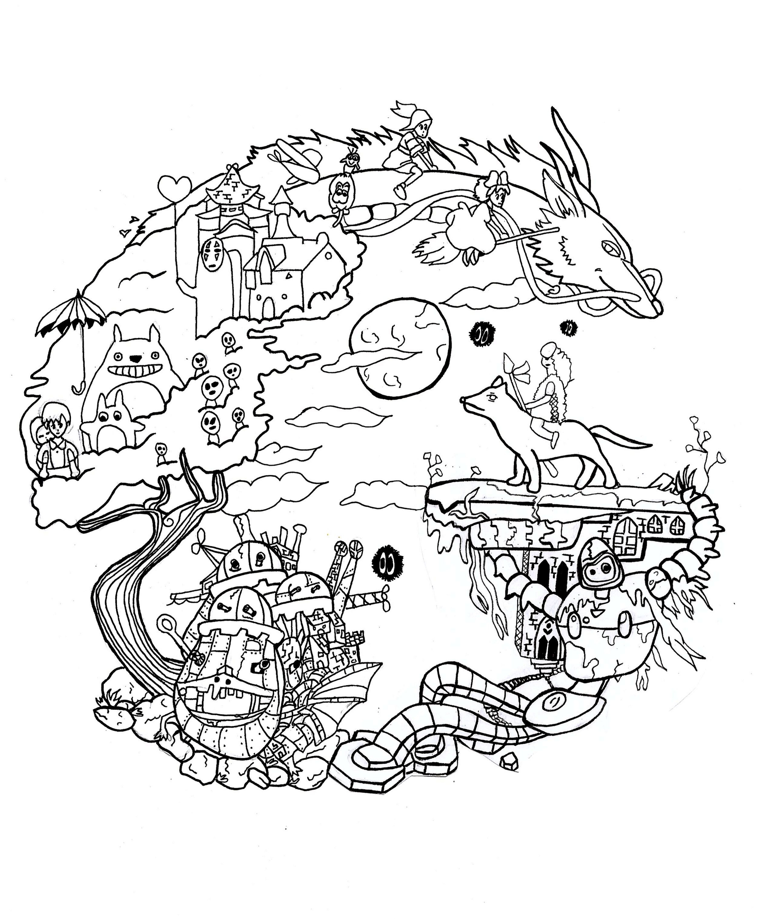 Coloring Page Reproduction Of A Fanart Of Studio Ghibli avec Coloriage Totoro A Imprimer