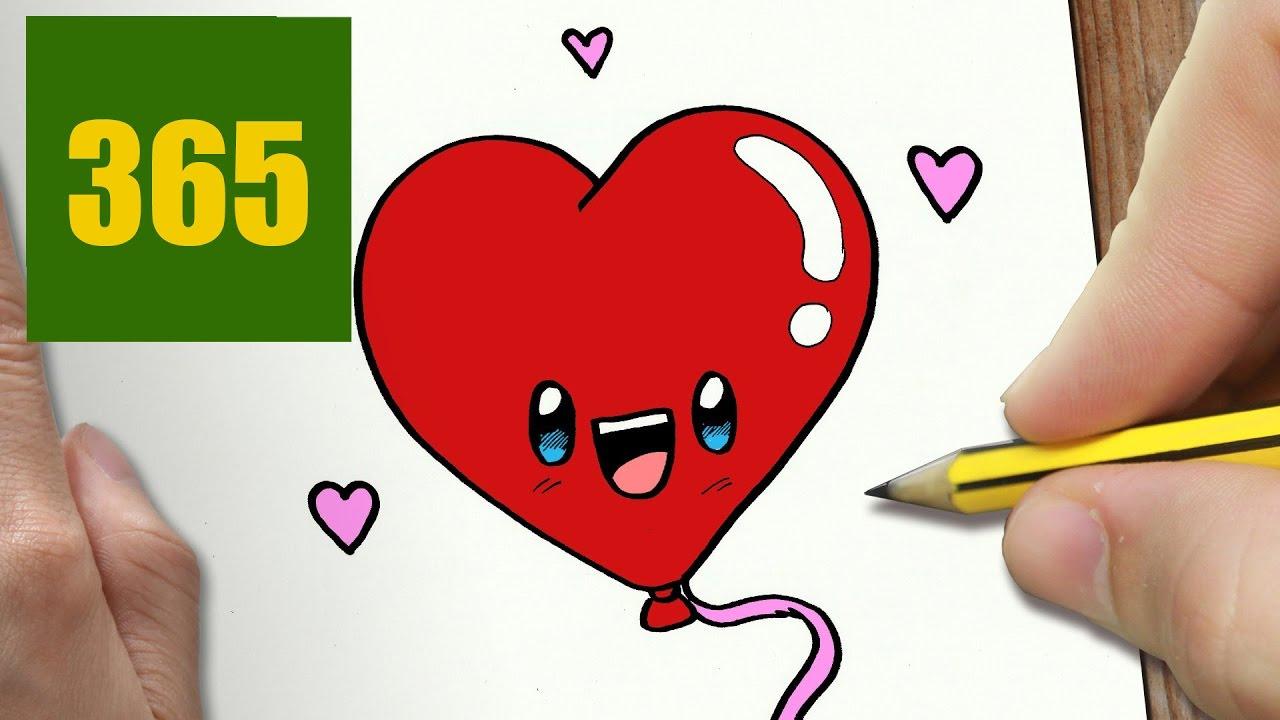 Comment Dessiner Coeur De Ballon Kawaii Étape Par Étape pour Dessin Damour