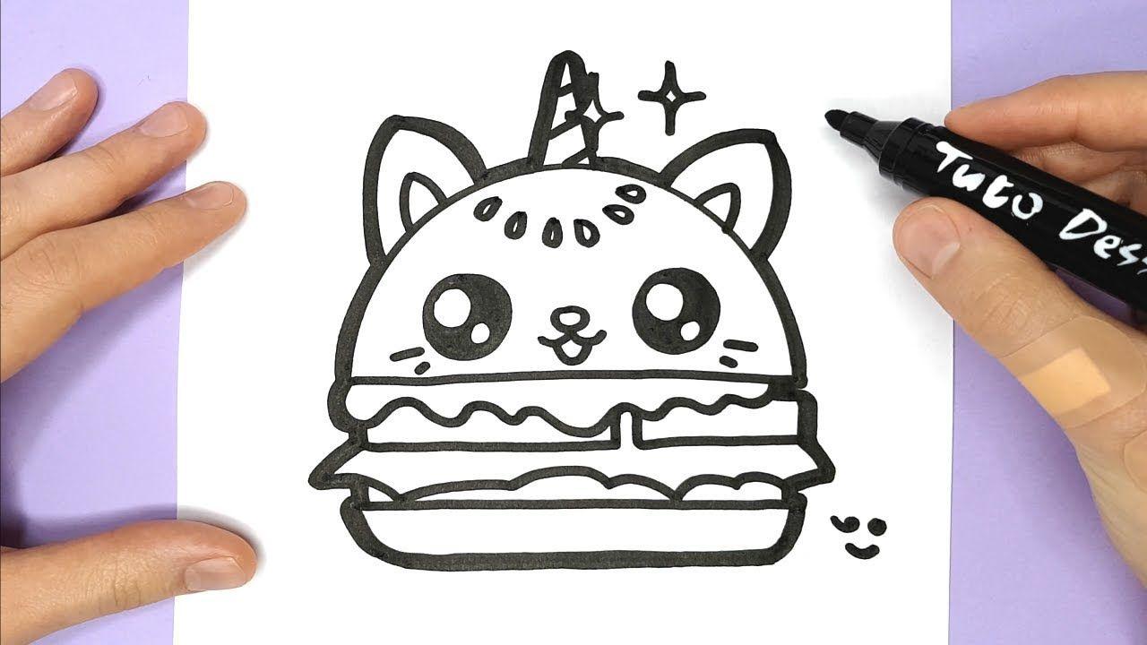 Comment Dessiner Et Colorier Un Hamburger Chat Licorne tout Dessin Facile Pour Fille