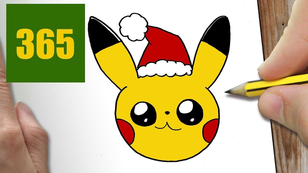 Comment Dessiner Pikachu Noël Kawaii Étape Par Étape intérieur Dessiner Des Pokémon