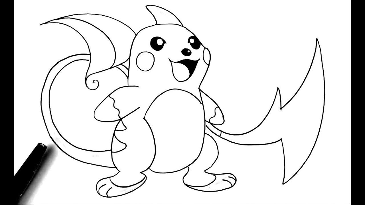 Comment Dessiner Raichu - Pokémon - dedans Modele De Pokemon A Dessiner