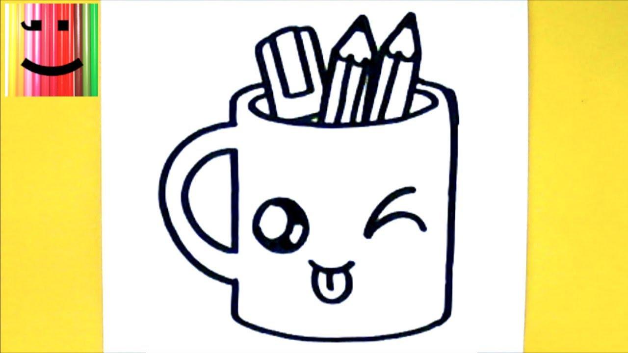 Comment Dessiner Tasse Crayons Kawaii - Dessin Kawaii Et tout Crayon Coloriage