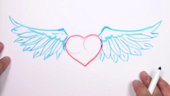 Comment Dessiner Un Cœur Avec Des Ailes ? - Minutefacile concernant Comment Dessiner Un Avion Avec Facile
