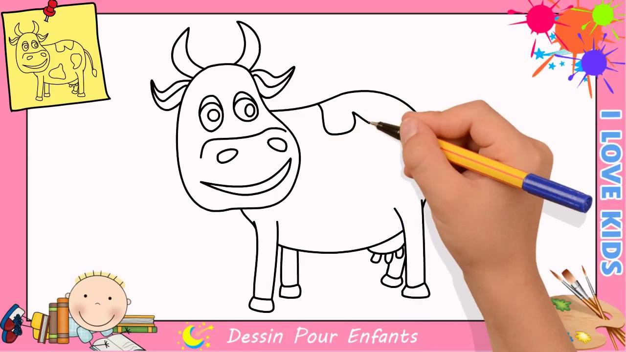 Comment Dessiner Une Vache Facilement Etape Par Etape Pour serapportantà Dessin Pour Enfant