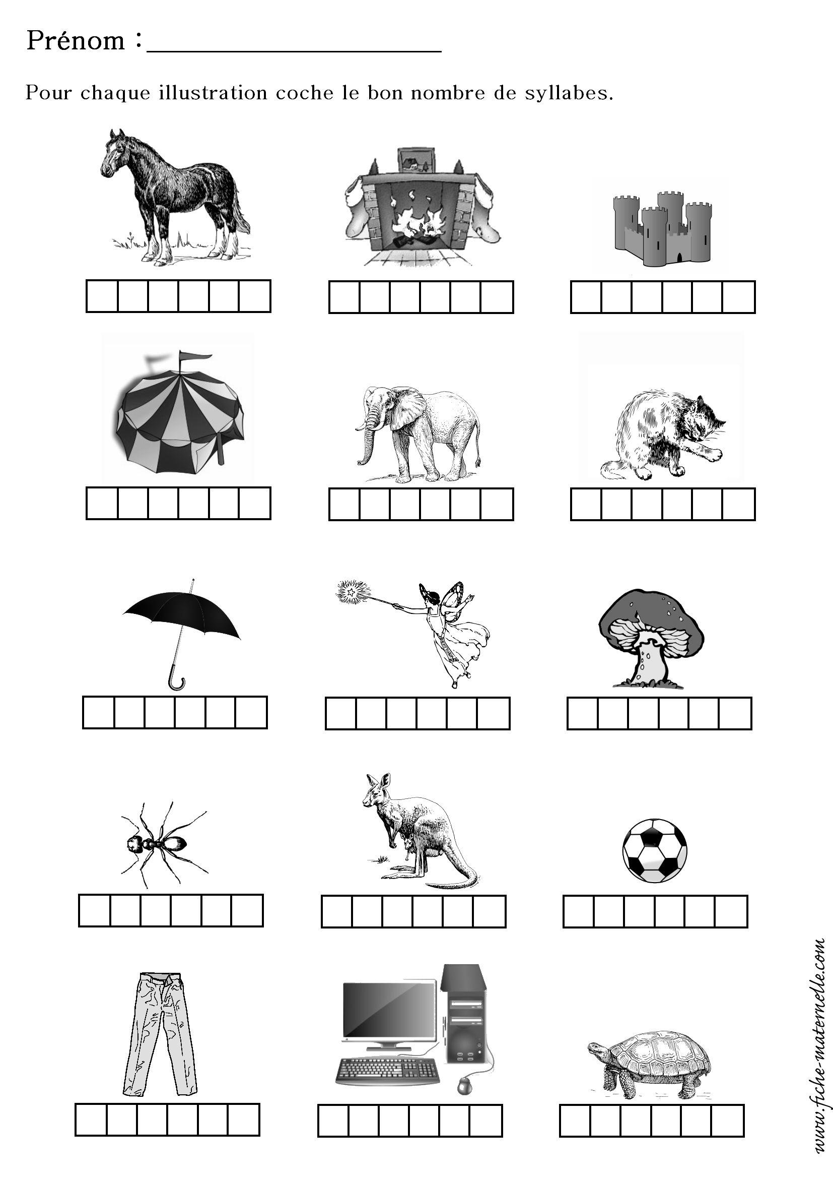 Compter Le Nombre De Syllabes D'Un Mot | Maternelle avec Fiche Exercice Grande Section