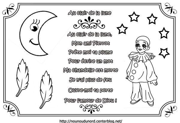 Comptine À Colorier Au Clair De La Lune | Comptines pour Au Clair De La Lune Paroles