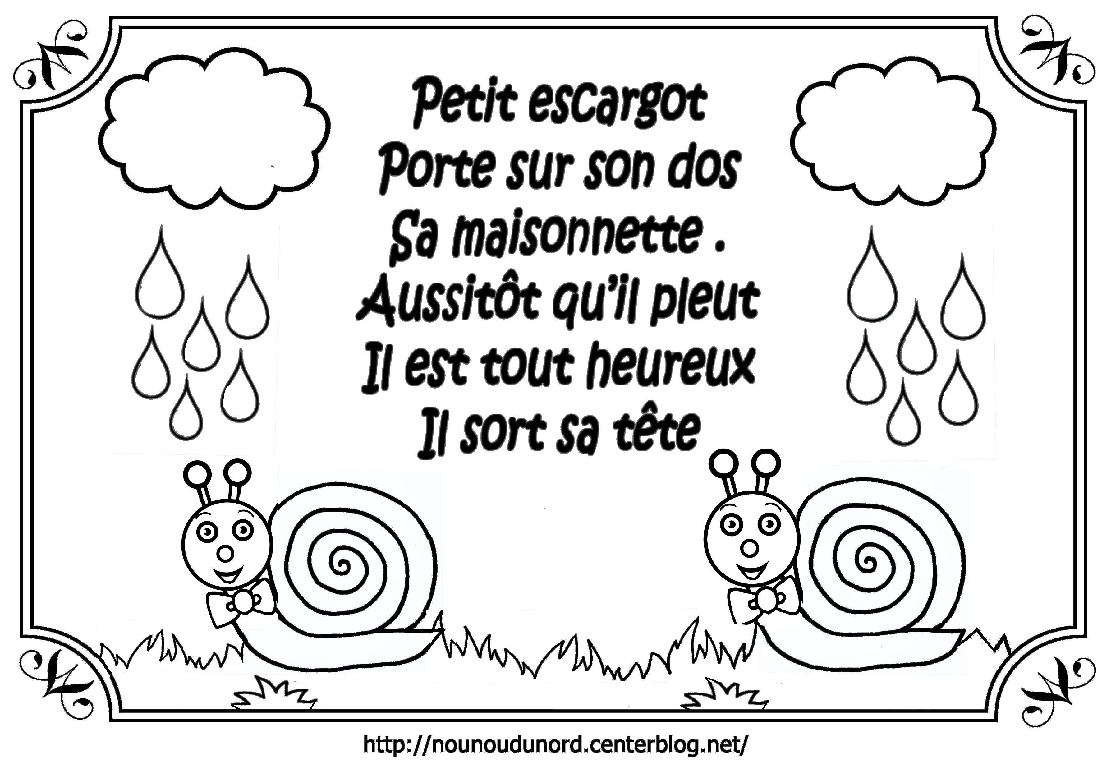 Comptine À Colorier Petit Escargot Par Nounoudunord. tout Nounou Du Nord