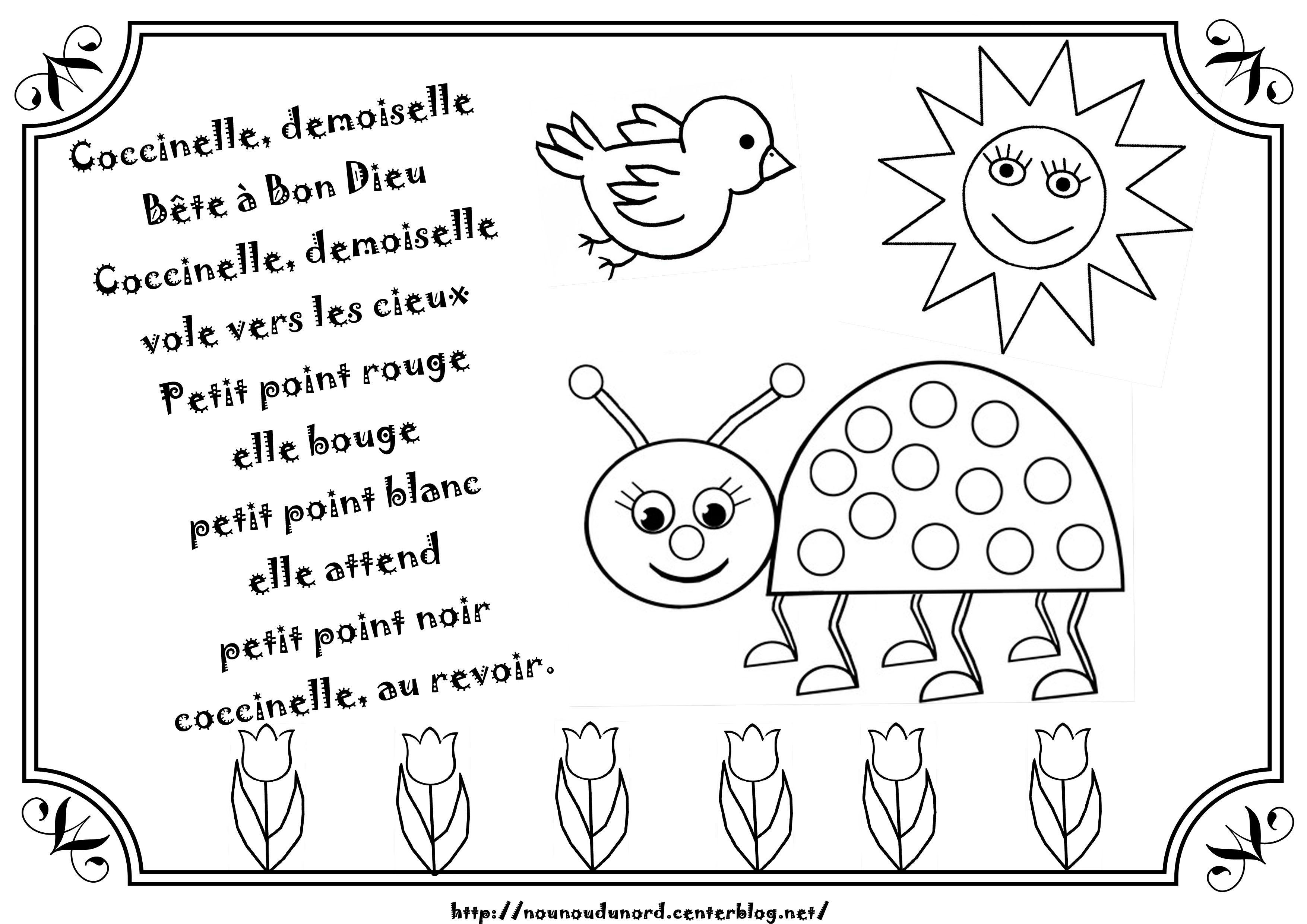 Comptine Coccinelle Demoiselle Illustrée Par Nounoudunord encequiconcerne Coccinelle À Colorier