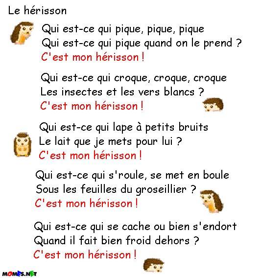 Comptine Herisson tout Le Hérisson Chanson