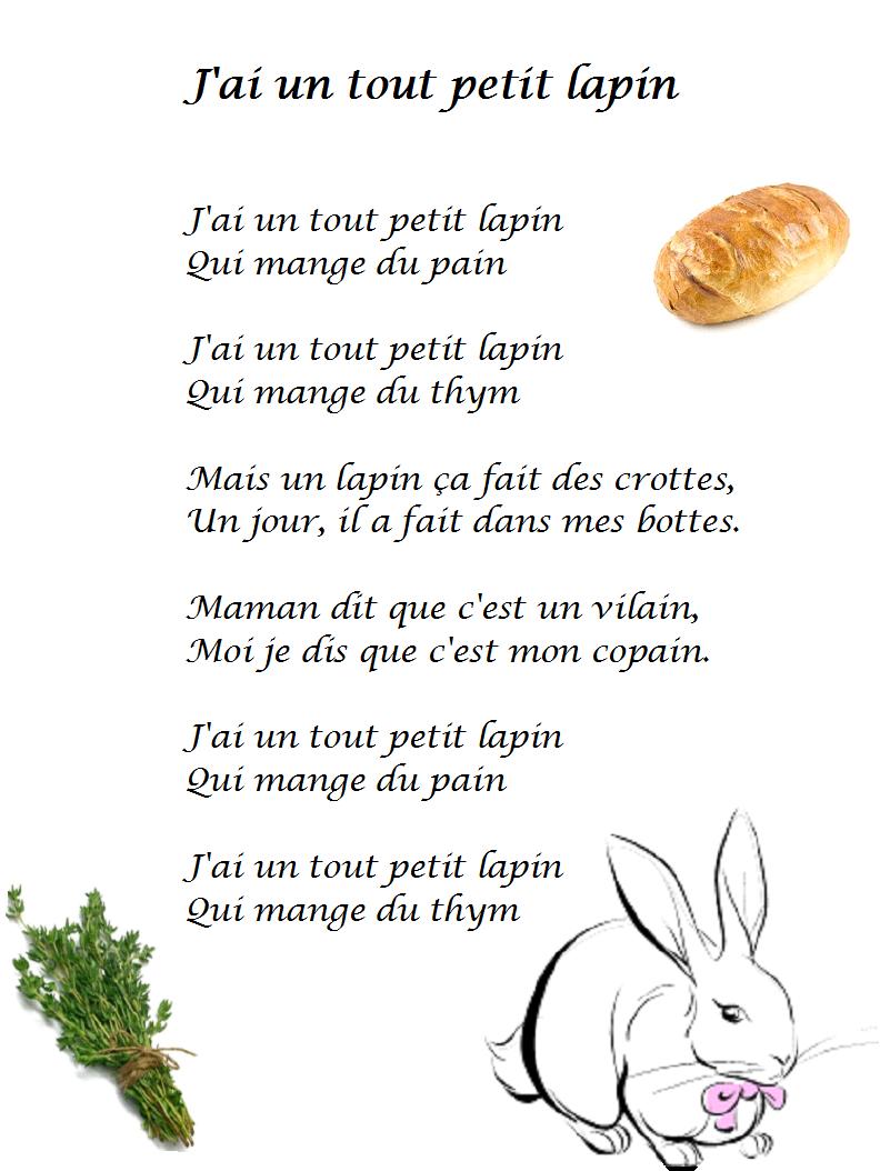 """Comptine J'Ai Un Tout Petit Lapin - Paroles Illustrées """"J serapportantà Chanson De La Petite Patate"""