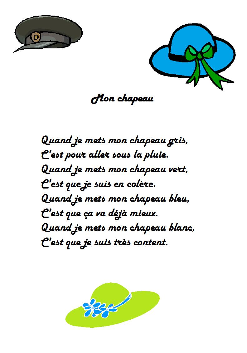 Comptine Mon Chapeau | Poèmes | Pinterest intérieur Y Avait Des Gros Crocodiles Paroles