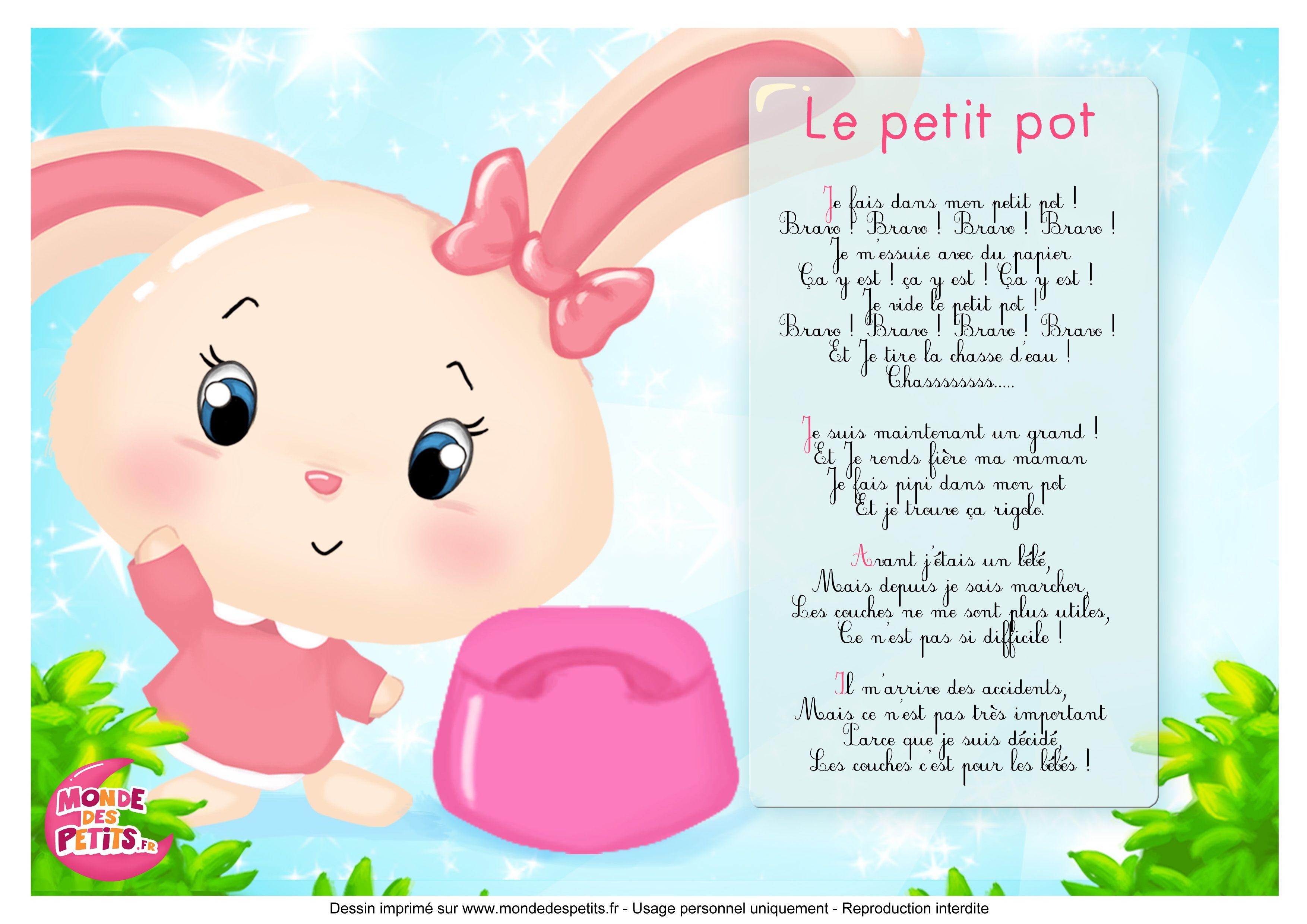 Comptine Petit Pot | Comptines, Chanson Enfantine à Les Chansons Pour Les Petit Gratuit