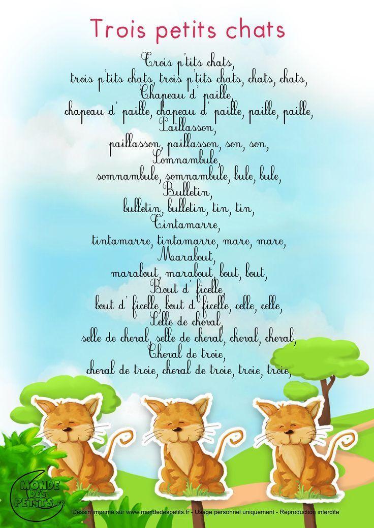 Comptine: Trois Petits Chats | Comptines, Comptines à Parole Chanson 3 Petit Chat