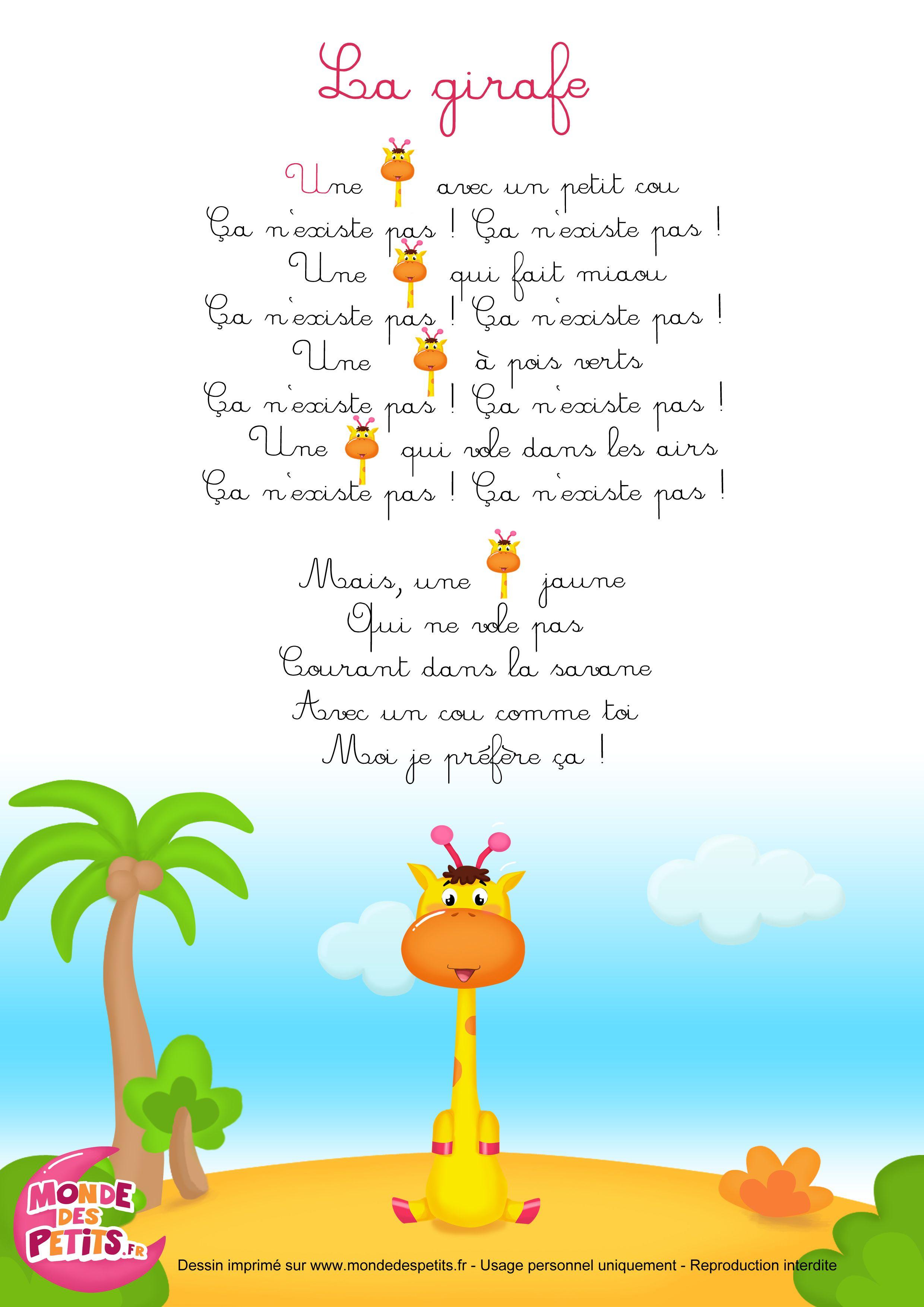 Comptinette-Girafe (2480×3508) | Chansons Pour Enfants avec Comptine Bb