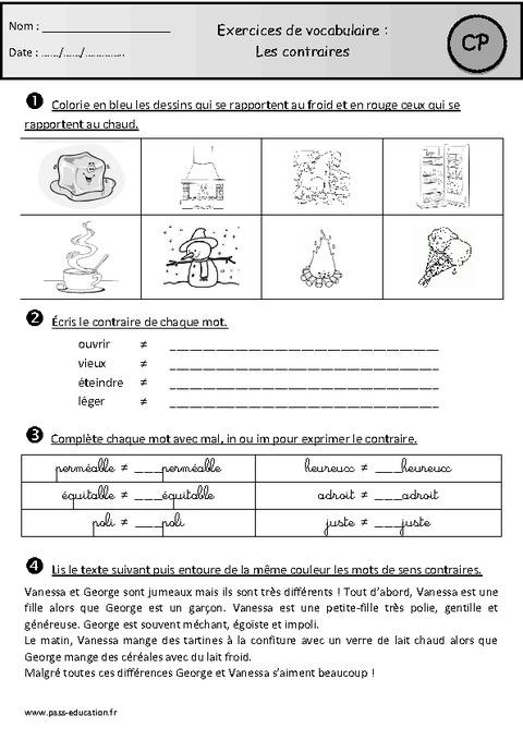 Contraires – Exercices – Cp – Vocabulaire – Cycle 2 - Pass à Structurer Le Vocabulaire Cycle 2