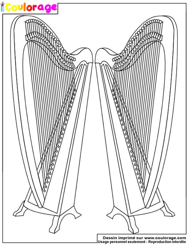 Coulorage - Dessin Et Coloriage De Harpe À Imprimer intérieur Dessin Harpe