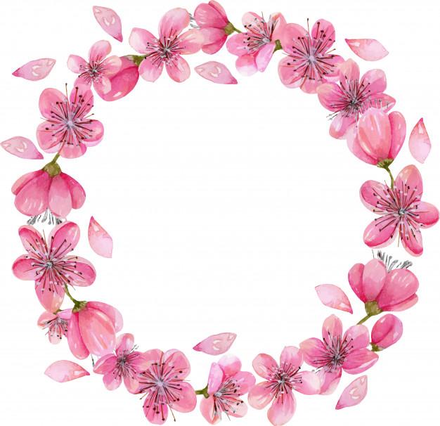 Couronne De Fleurs De Cerisier En Fleurs Printemps concernant Couronne De Fleurs Dessin