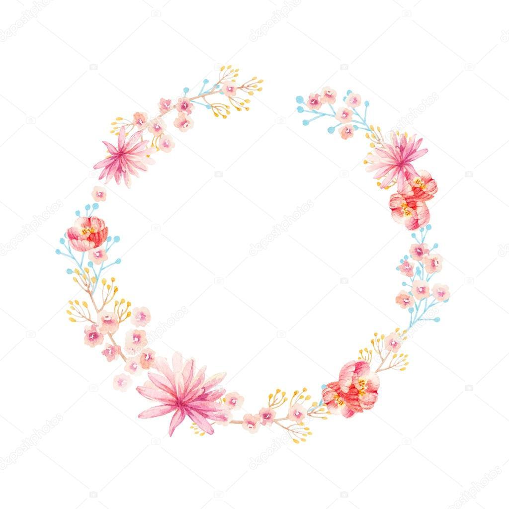 Couronne De Fleurs Dessin Aquarelle tout Couronne De Fleurs Dessin