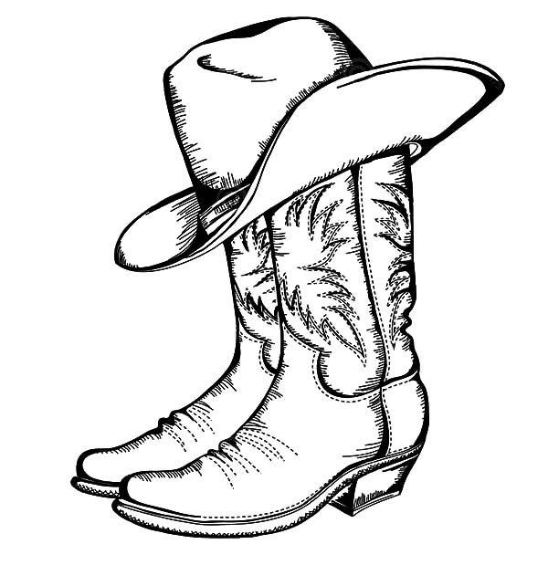Cowboy Hat, : Cowboy Boots And Hat Coloring Pages | Bottes serapportantà Dessin Chapeau De Cowboy