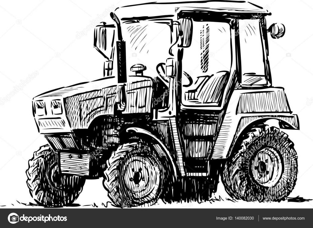 Croquis D'un Petit Tracteur Agricole — Image Vectorielle tout Dessin D Un Tracteur