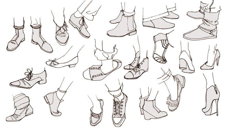 Croquis Pieds Chaussures Talons Converse Ballerines à Dessin De Chaussure A Talon