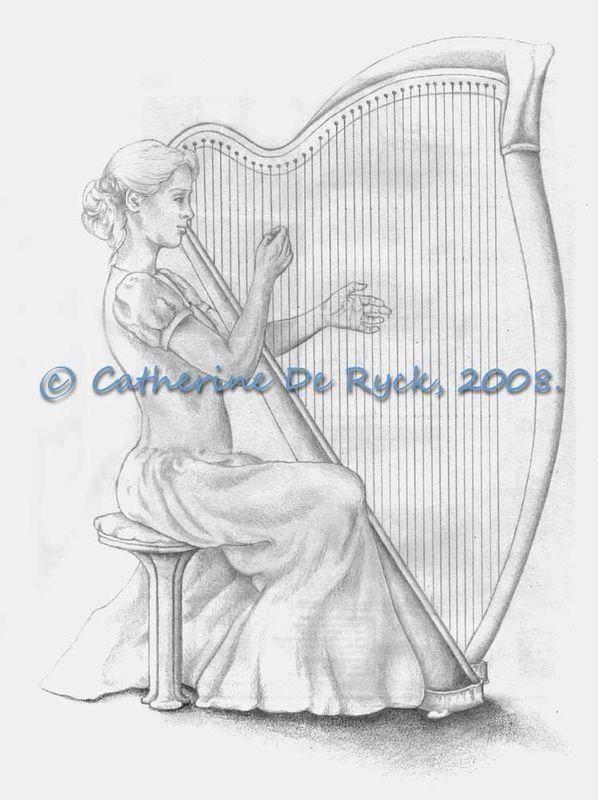 """Croquis Pour """"La Joueuse De Harpe"""" (Sketch) - Walkonwater tout Dessin Harpe"""