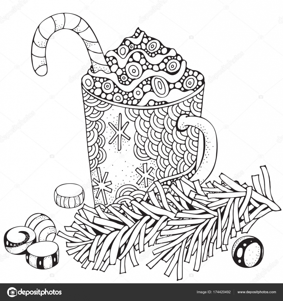 Cup With Hot Coffee. Adult Coloring Book Page — Stock intérieur Coloriage Chocolat