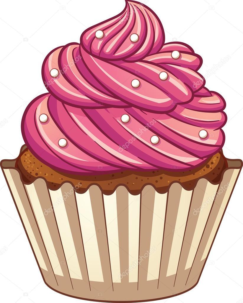 Cupcake Rose Dessin Animé — Image Vectorielle Memoangeles à Cup Cake Dessin