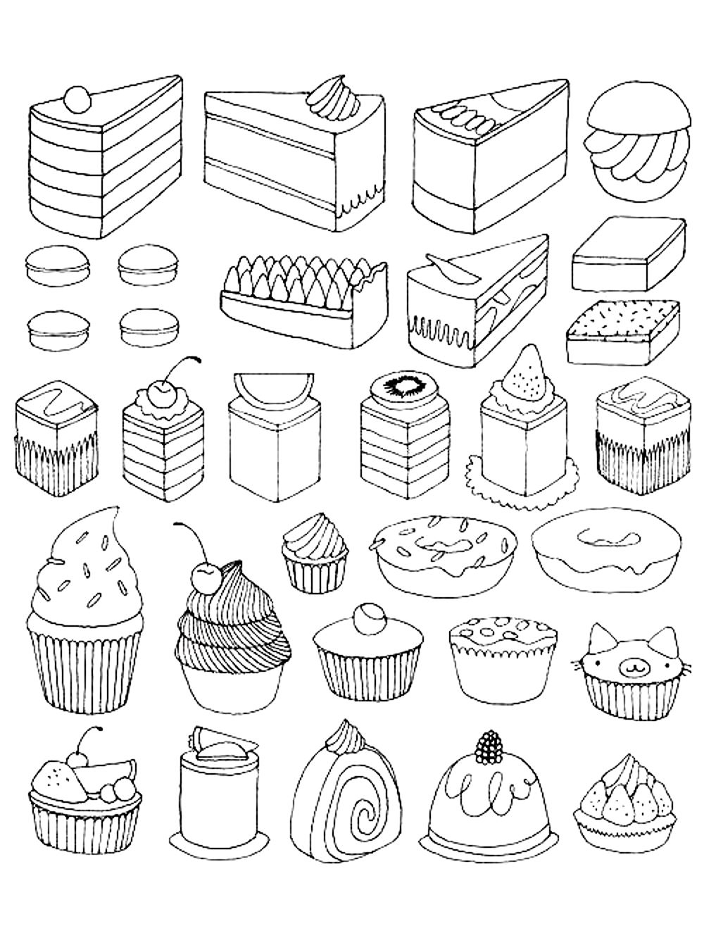 Cupcakes And Little Cakes - Cupcakes Adult Coloring Pages tout Dessin Gateaux
