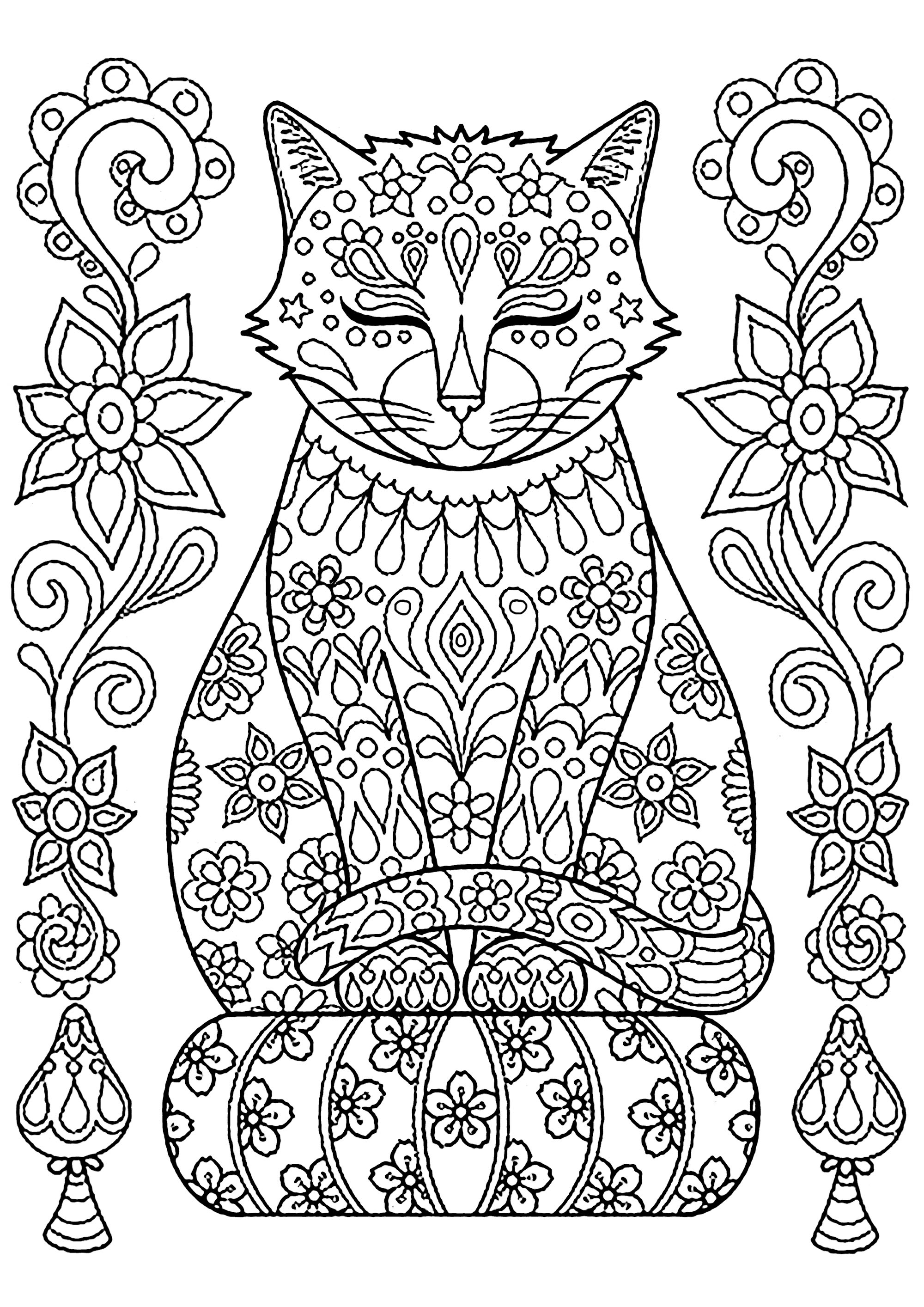 Cute Cat On Pillow With Flowers - Cats Adult Coloring Pages pour Dessin De Chat Simple