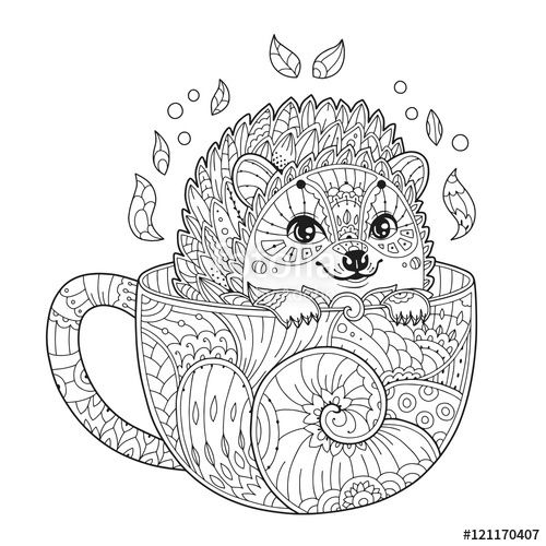 Cute Hedgehog In Cup Coloring Page Zentangle Style tout Coloriage Hérisson À Imprimer
