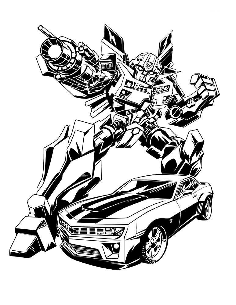 Раскраски Бамблби Скачать И Распечатать. à Dessins De Coloriage Transformers Imprimer