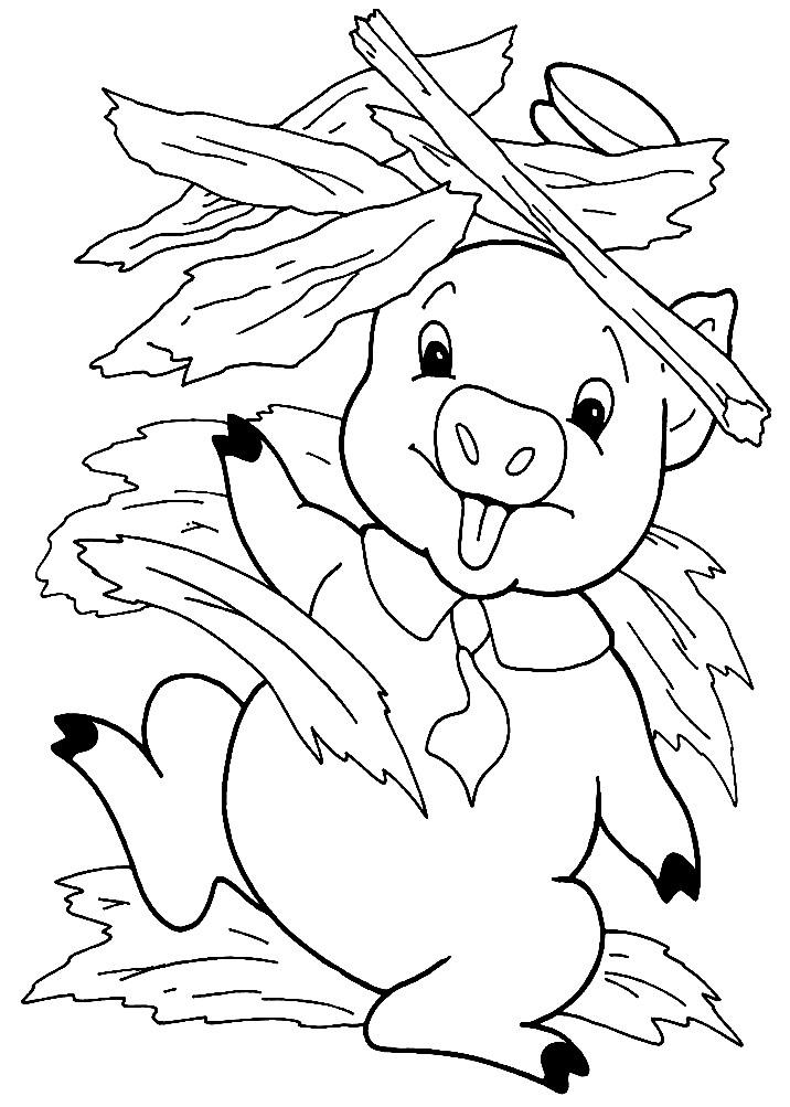 Три Поросенка | Раскраски Для Детей Распечатать Бесплатно concernant Dessin Des 3 Petit Cochon