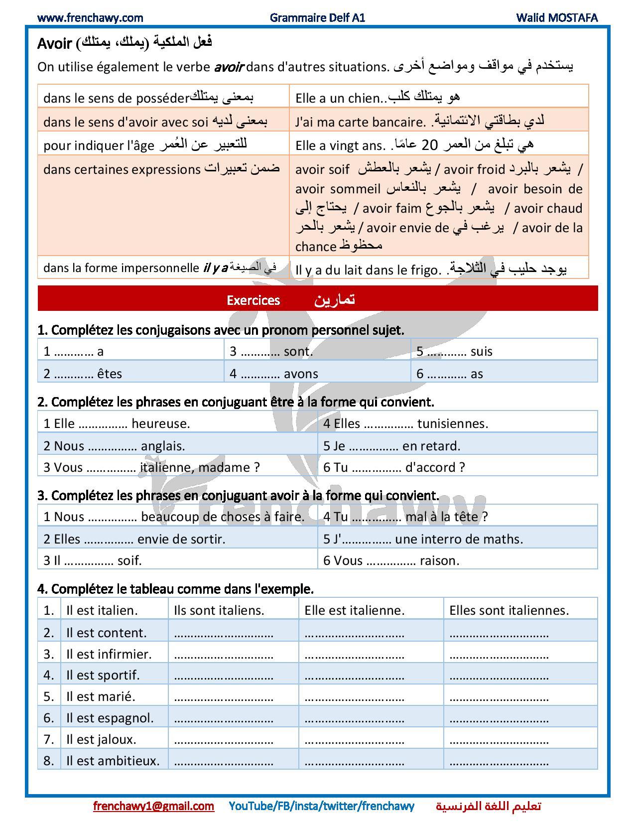 الدرس (10) فعلي Être Et Avoir - قواعد اللغة الفرنسية pour Pr?Sent De L'Indicatif