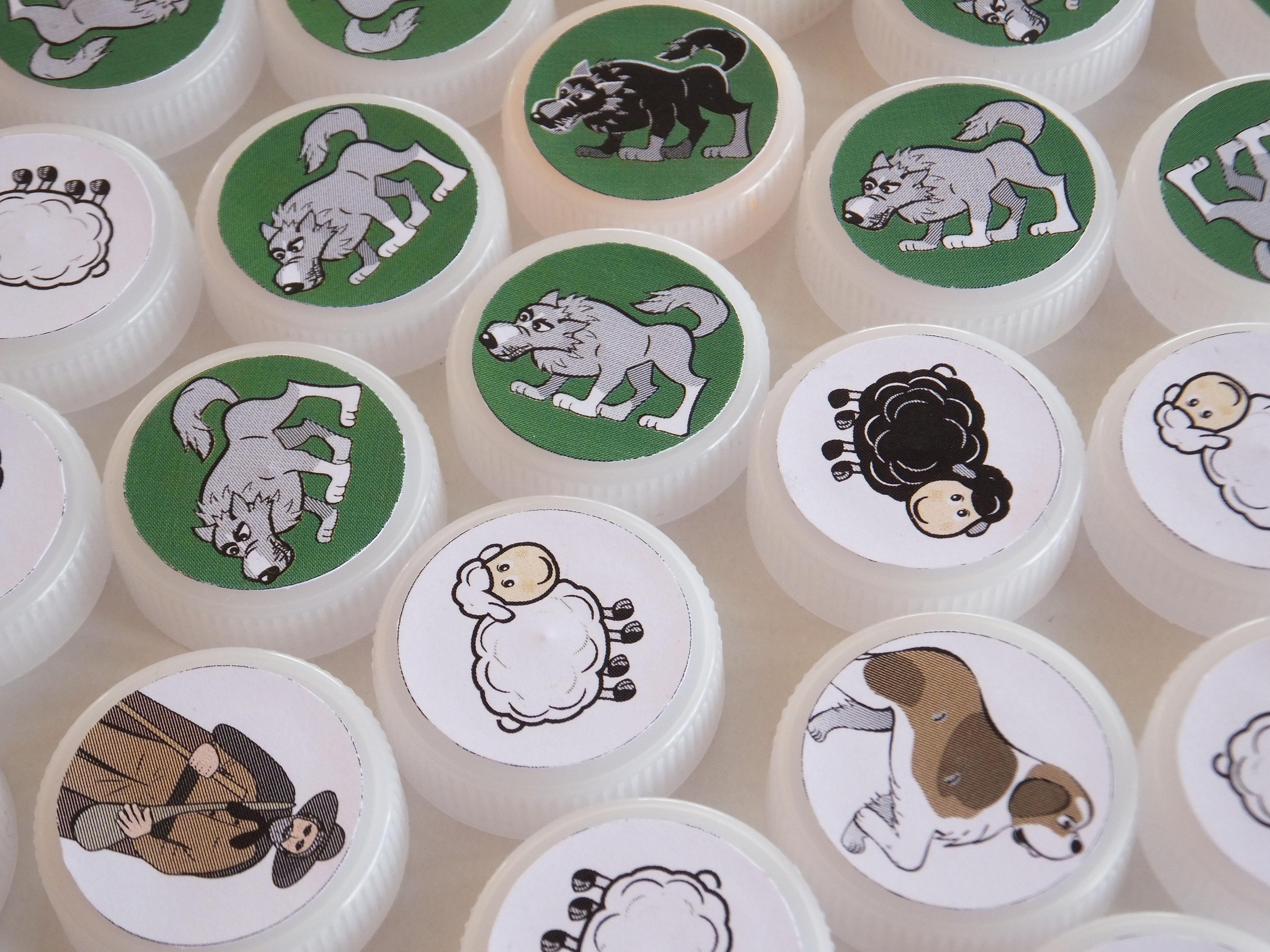 Damier-Jeu De Dames À Imprimer Pions Loups Vs Moutons avec Damier À Imprimer