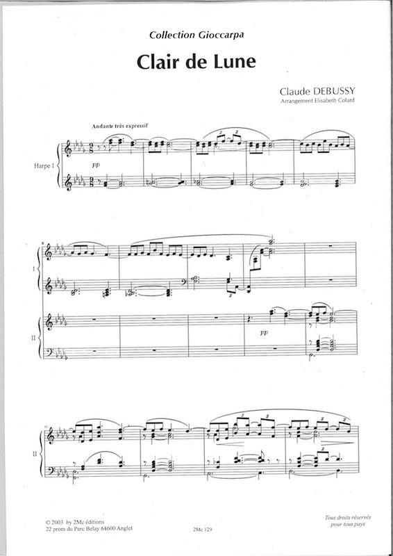 Debussy Claude : Clair De Lune - Arr. For 2 Harps By pour Clair De Lune Debussy