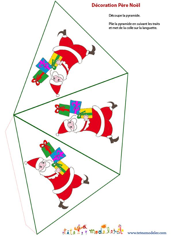 Décoration Père Noël En Papier À Imprimer - Noel Sur Tete à Décoration De Noel À Imprimer