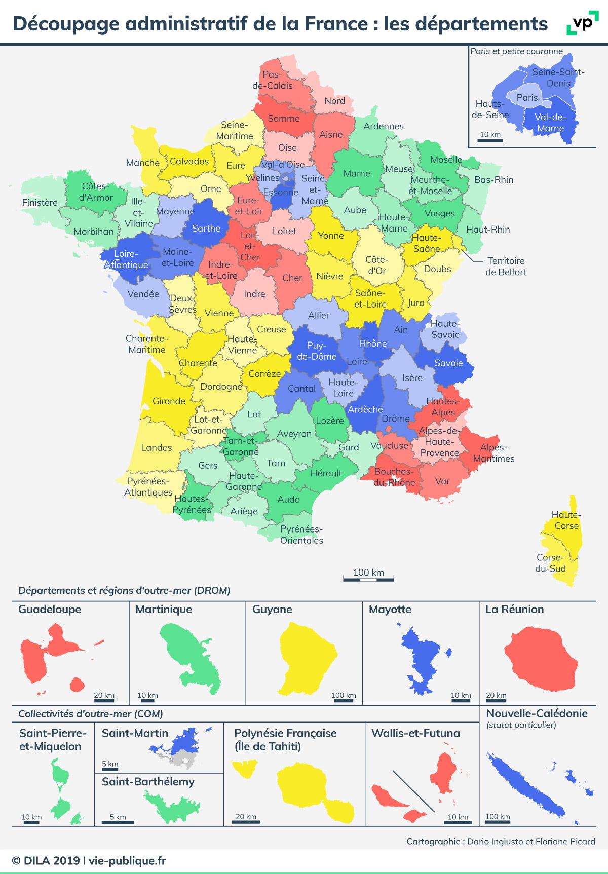 Découpage Administratif De La France : Les Départements avec Num?Rotation Des D?Partements