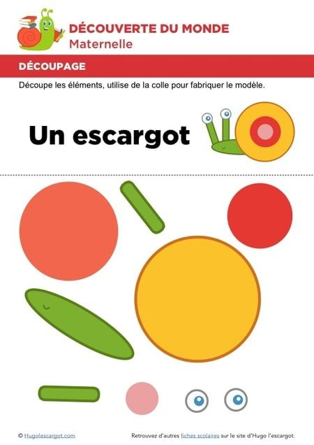 Découpage Et Collage D'Un Escargot | Activités De serapportantà Decoupage Pour Enfants