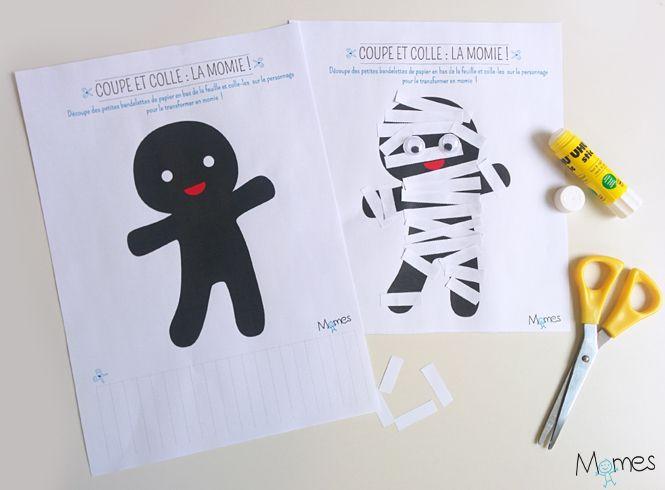 Découpe Et Colle : La Momie ! | Activité Halloween pour Decoupage Pour Enfants