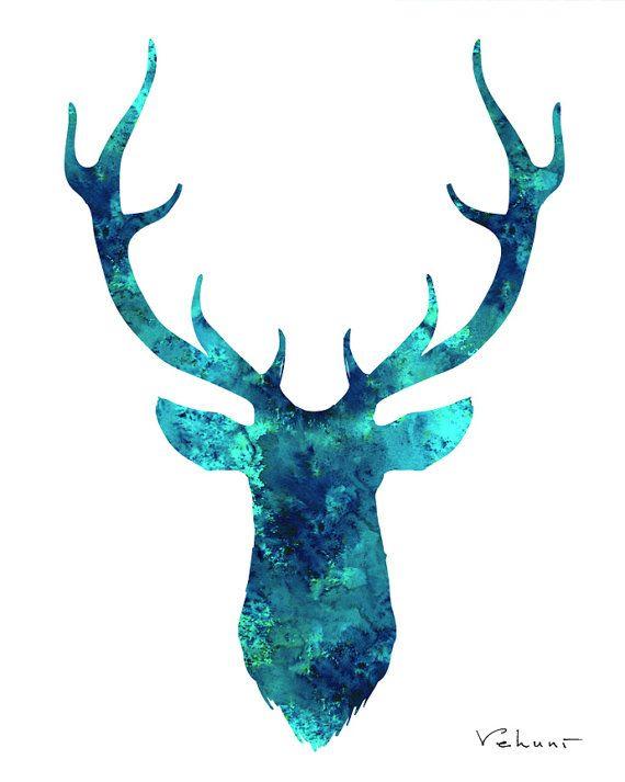 Deer Head Wall Art, Turquoise Deer Watercolor Print, Aqua destiné Tete De Cerf Dessin