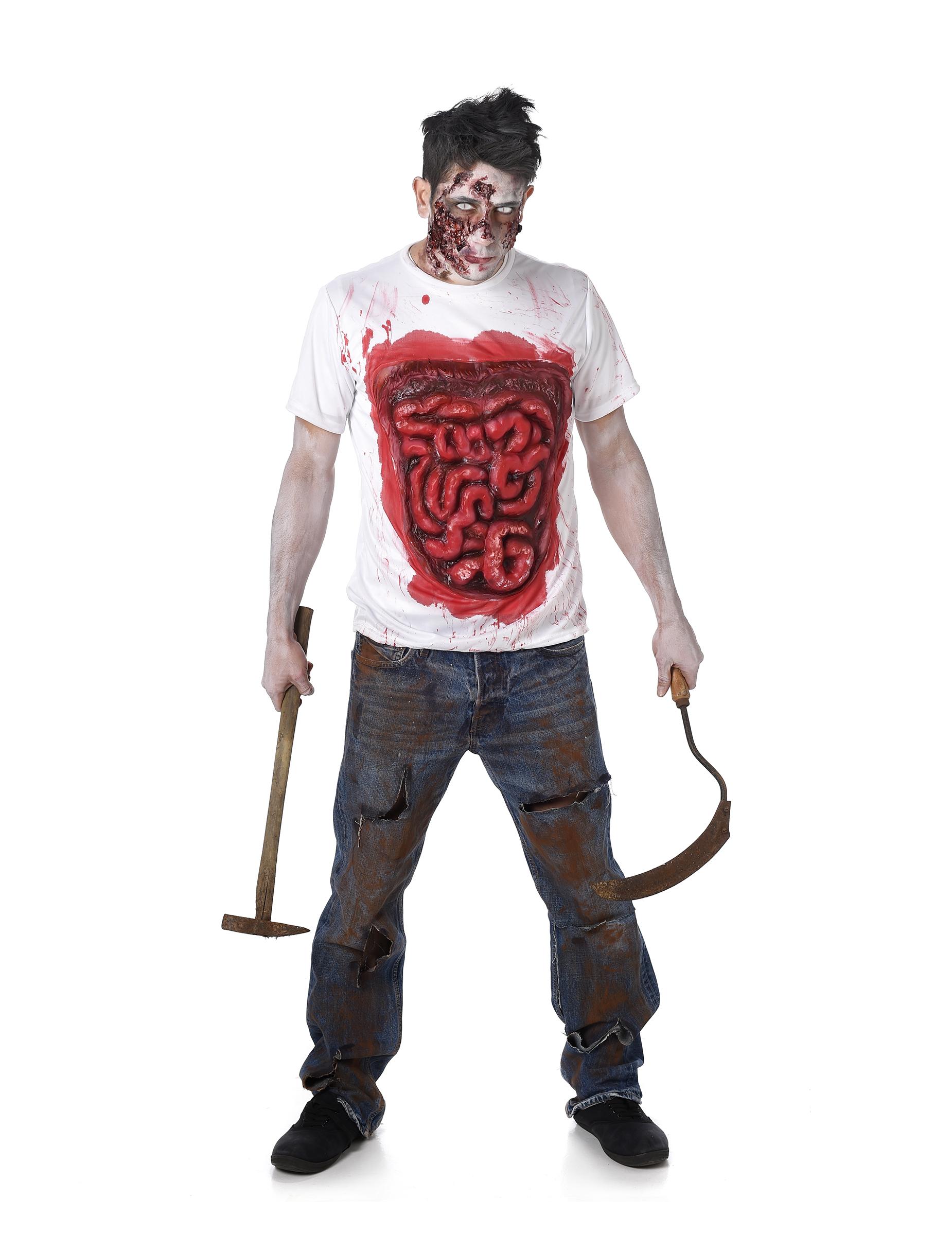 Déguisement Zombie Avec Boyaux En Latex Homme Halloween pour Zombie Qui Fait Peur