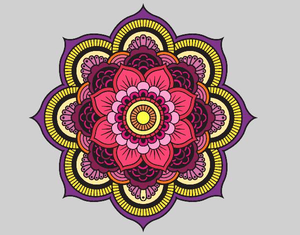 Desenho De Mandala Flor Oriental Pintado E Colorido Por dedans Mandala Colorié