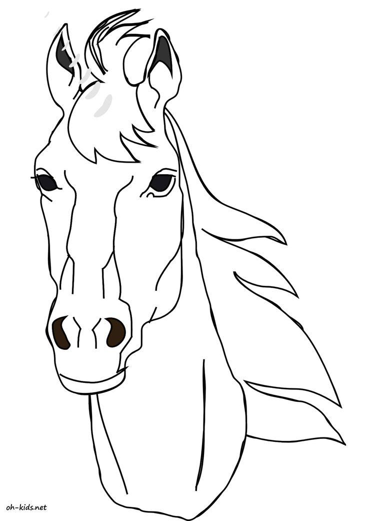 Dessin #1113 - Coloriage Tête De Cheval À Imprimer - Oh pour Coloriage À Imprimer Cheval Gratuit