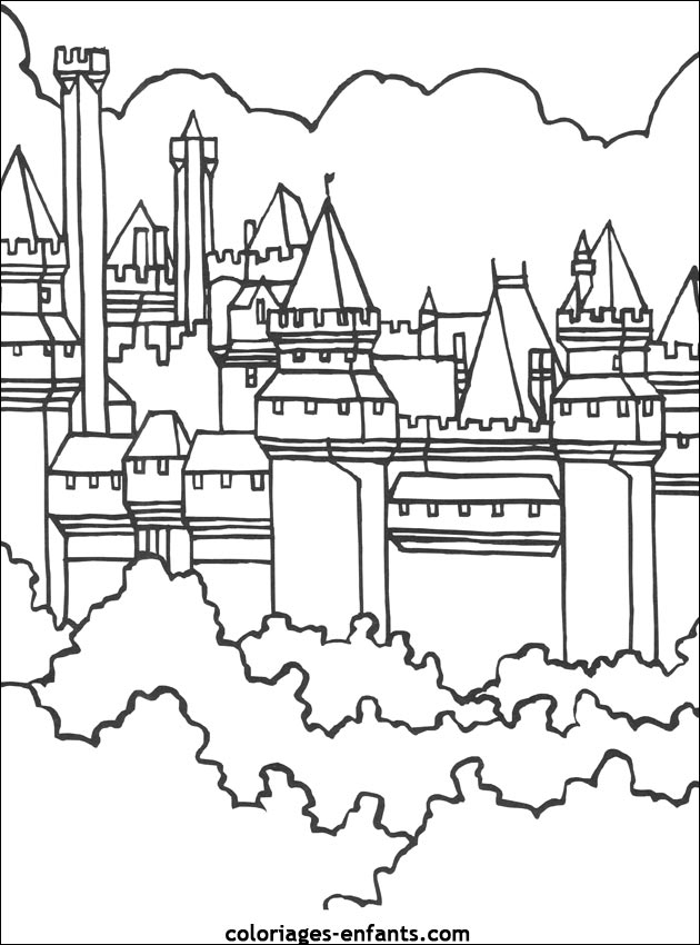Dessin À Colorier Chateau Fort Du Moyen Age à Dessin Chateau Moyen Age